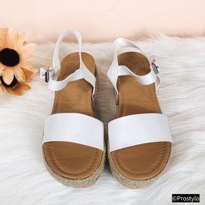 JUST IN‼️WHITE ESPADRILLE PLATFORM SANDALS- Shoe
